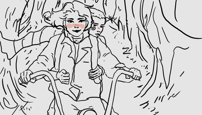 blush calliope crossover grayscale highlight_color humanized neatgirl redrom reverse_hug roxy's_striped_scarf roxy_lalonde shipping snake_wine stranger_things trees