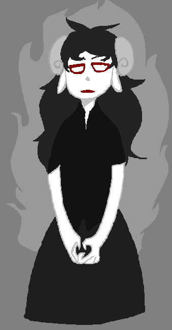 aradia_megido arijandro dead_aradia grayscale highlight_color solo