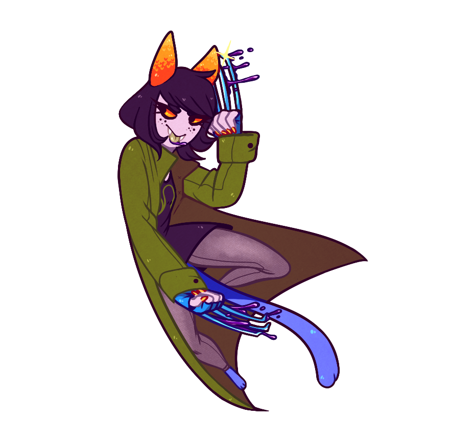 action_claws blood fefairi nepeta_leijon no_hat solo transparent