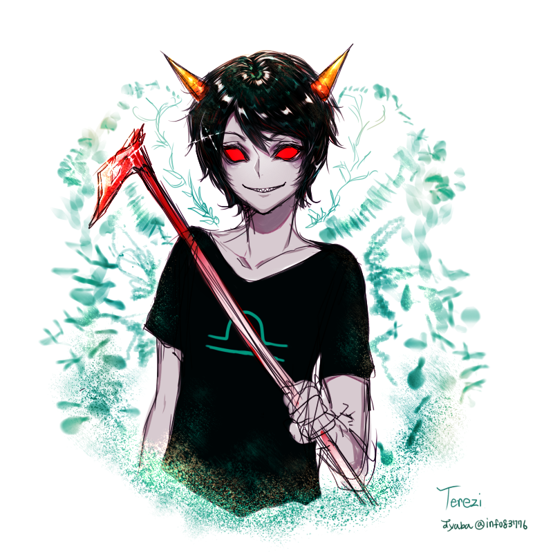 jyaba no_glasses rule63 solo starter_outfit terezi_pyrope text weapon zodiac_symbol