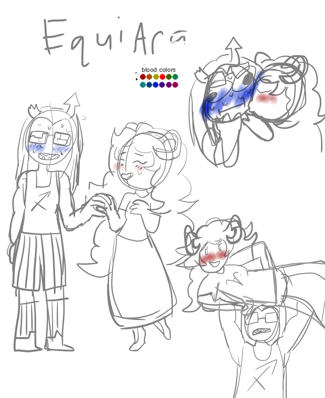 aradia_megido blush carrying dyingbluerose equius_zahhak holding_hands iron_maiden kiss redrom shipping sketch