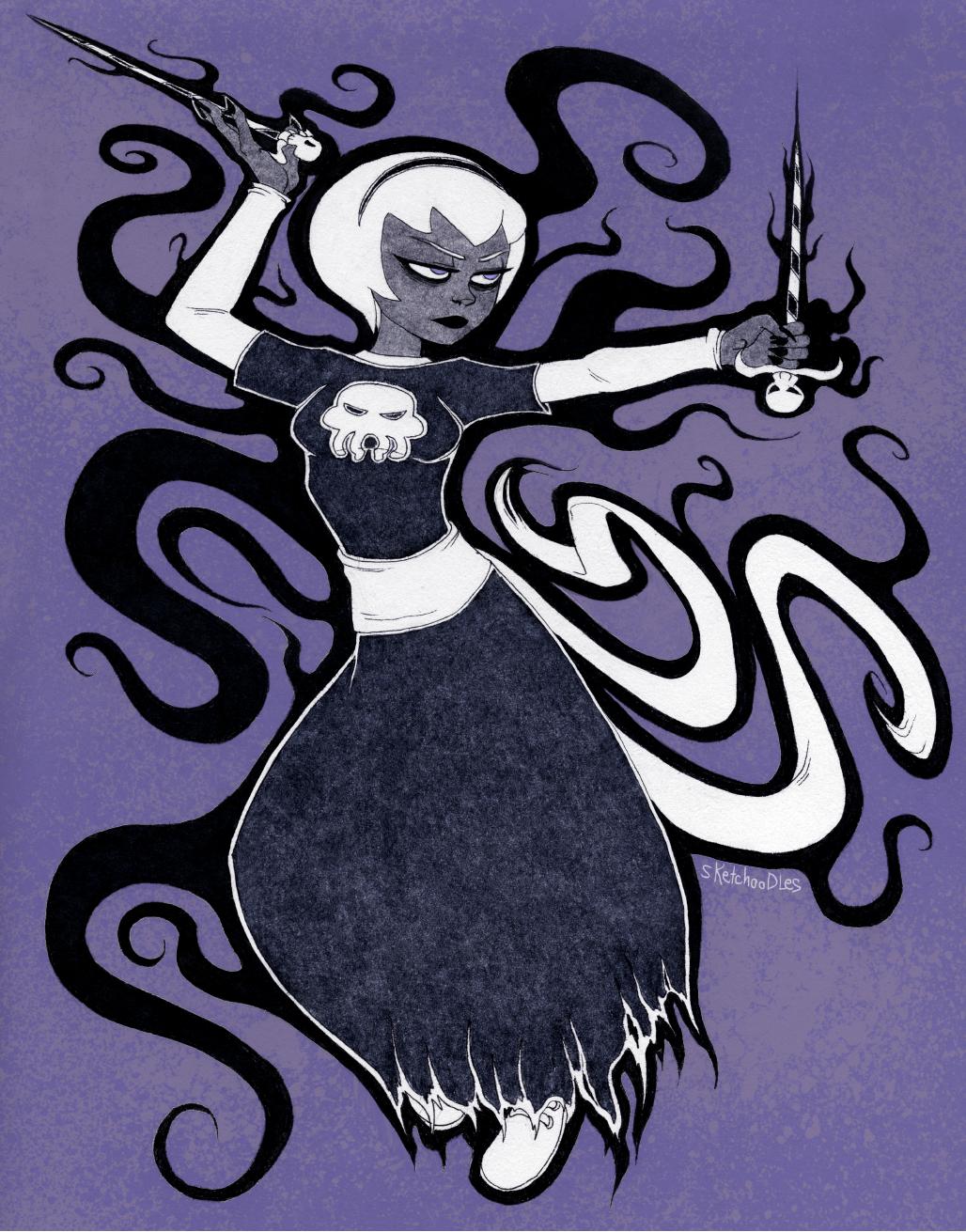 black_squiddle_dress grimdark rose_lalonde sketchoodles solo thorns_of_oglogoth