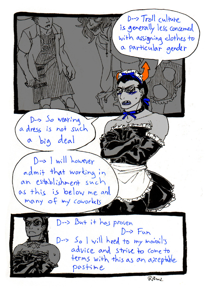 arms_crossed ask comic crossdressing equius_zahhak gamzee_makara raakelh saucy_maid_outfit tavros_nitram text word_balloon