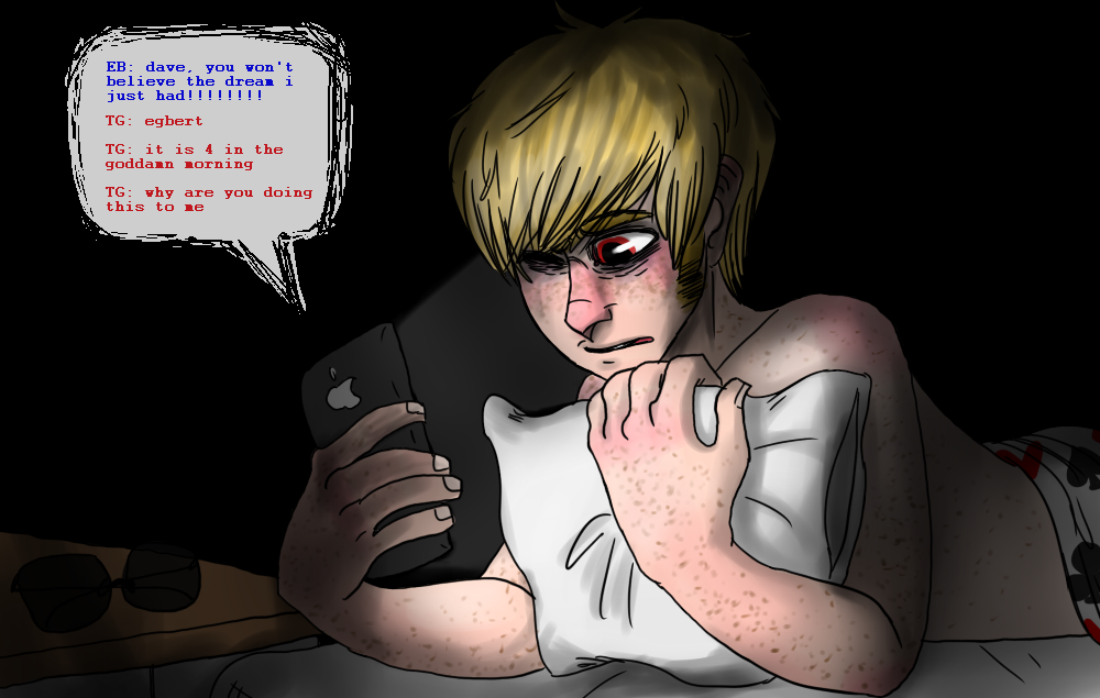 bed clubs dave_strider heart kawaiisharkchan no_glasses on_stomach pesterlog solo spade text word_balloon
