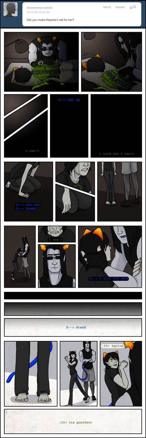 ask blood comic crying equius_zahhak gore hug kattors magebird meowrails nepeta_leijon no_hat sadstuck text