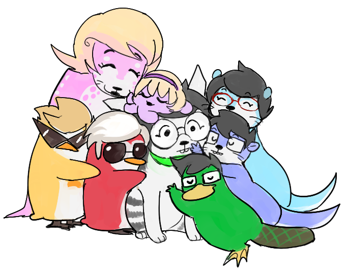 alpha_kids animalstuck aquariumstuck au beta_kids dave_strider dirk_strider hug jade_harley jake_english jane_crocker john_egbert rose_lalonde roxy_lalonde salihombox