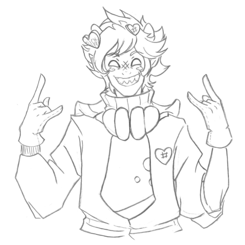 admantist alternate_hair body_modification crossover dancestors kankri_vantas lineart matryoshka solo text trickster_mode vocaloid