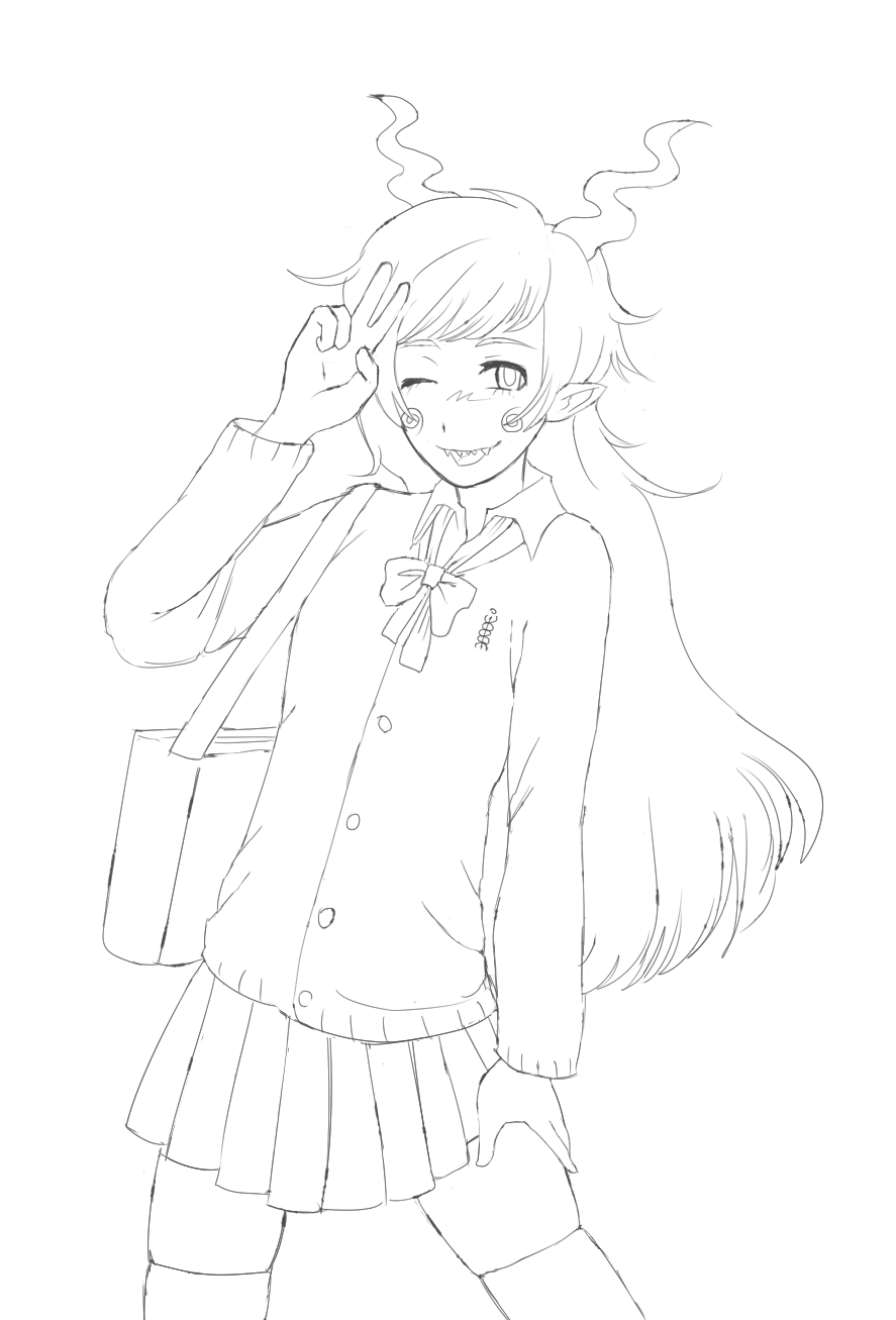 anonymous_artist blush callie_ohpeee calliope lineart school_uniform solo trollified wonk