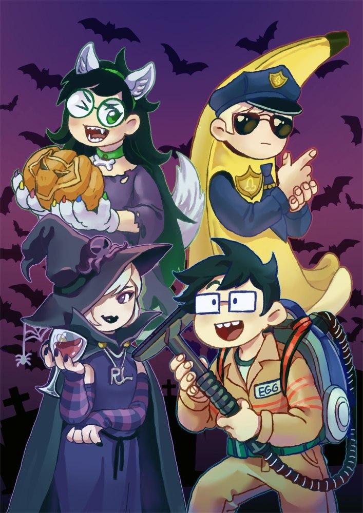 beta_kids cocktail_glass dave_strider dogtier ghostbusters halloweenstuck jade_harley john_egbert pumpkin rose_lalonde spiders takibert