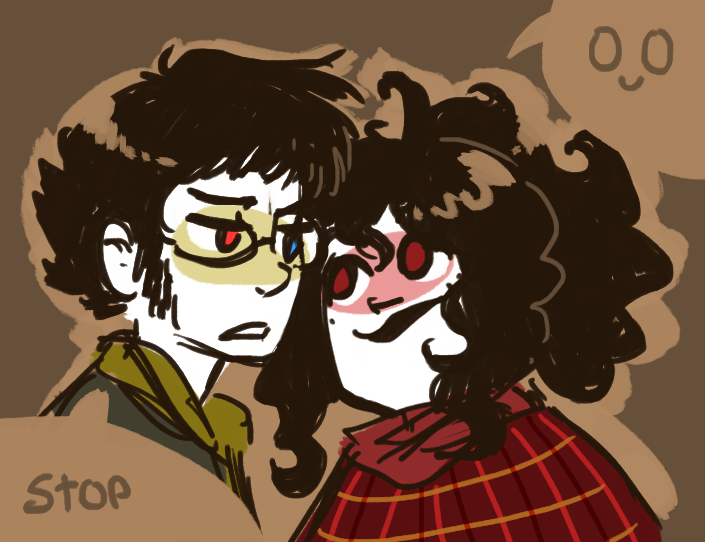 0u0 2spooky aradia_megido blush humanized mcsiggy shipping sollux_captor word_balloon