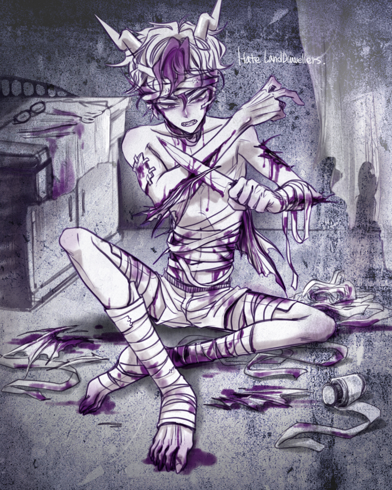 blood eridan_ampora gore non_canon_design ohgodwhat self_harm solo tabri text weapon