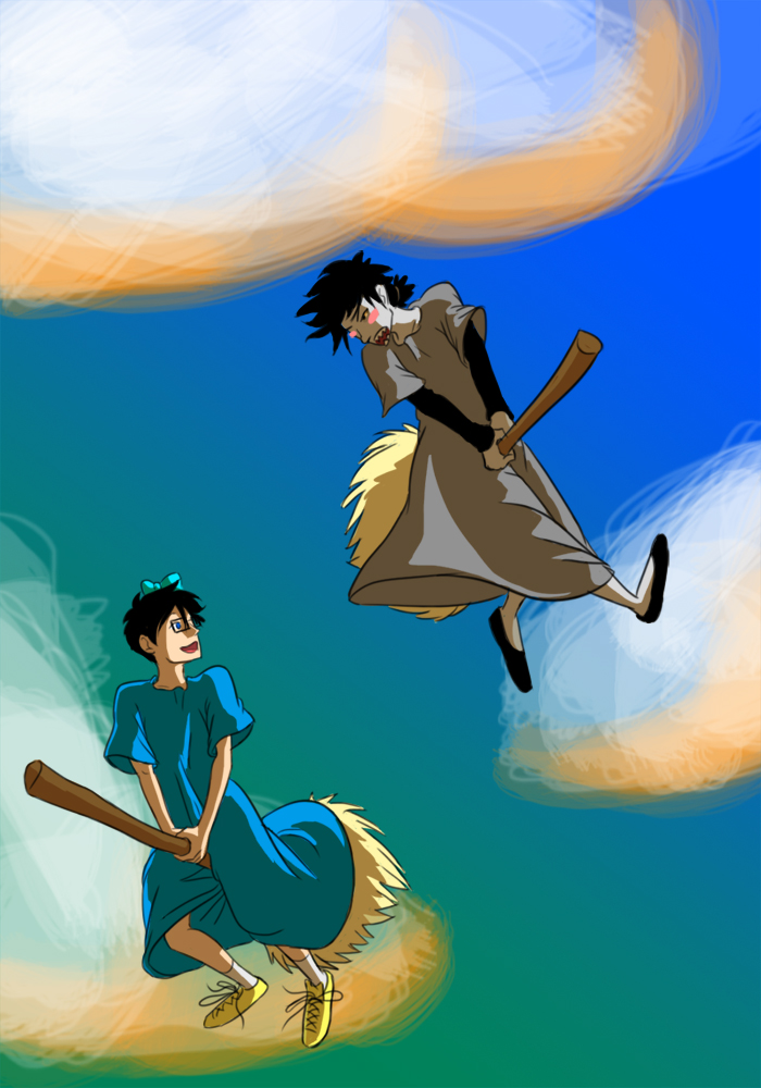 broom clouds communism crossdressing crossover john_egbert karkat_vantas kiki's_delivery_service magpizza midair redrom shipping studio_ghibli