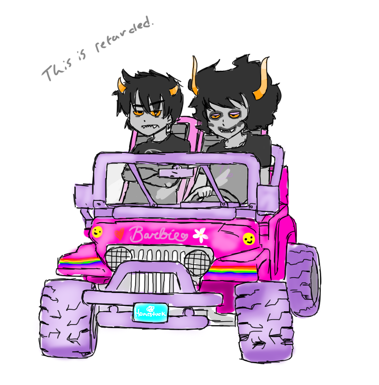 arms_crossed barbie car gamzee_makara karkat_vantas rainbow s-alish text this_is_stupid