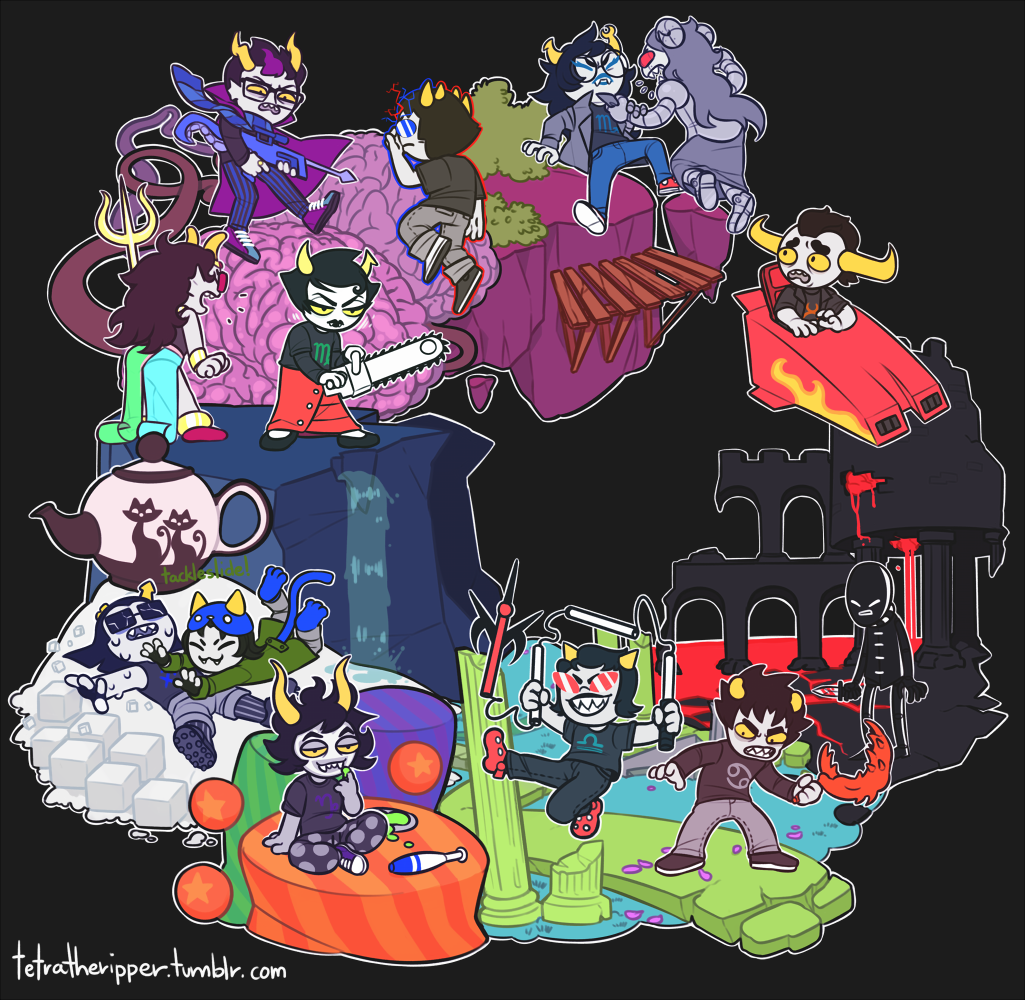 ahab's_crosshairs alternians aradia_megido aradiabot blood chainsaw clawsickle deuce_clubs equius_zahhak eridan_ampora feferi_peixes gamzee_makara horrorterrors jack_noir kanaya_maryam karkat_vantas knife land_of_brains_and_fire land_of_caves_and_silence land_of_little_cubes_and_tea land_of_maps_and_treasure land_of_pulse_and_haze land_of_tents_and_mirth land_of_thought_and_flow nepeta_leijon psidon's_trident rocket_car sollux_captor sopor_pie spades_slick spear_cane strife tavros_nitram terezi_pyrope tetratheripper vriska_serket