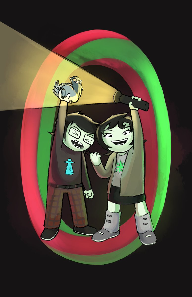 animals byers flashlight hiveswap joey_claire jude_harley official_art siblings:joeyjude