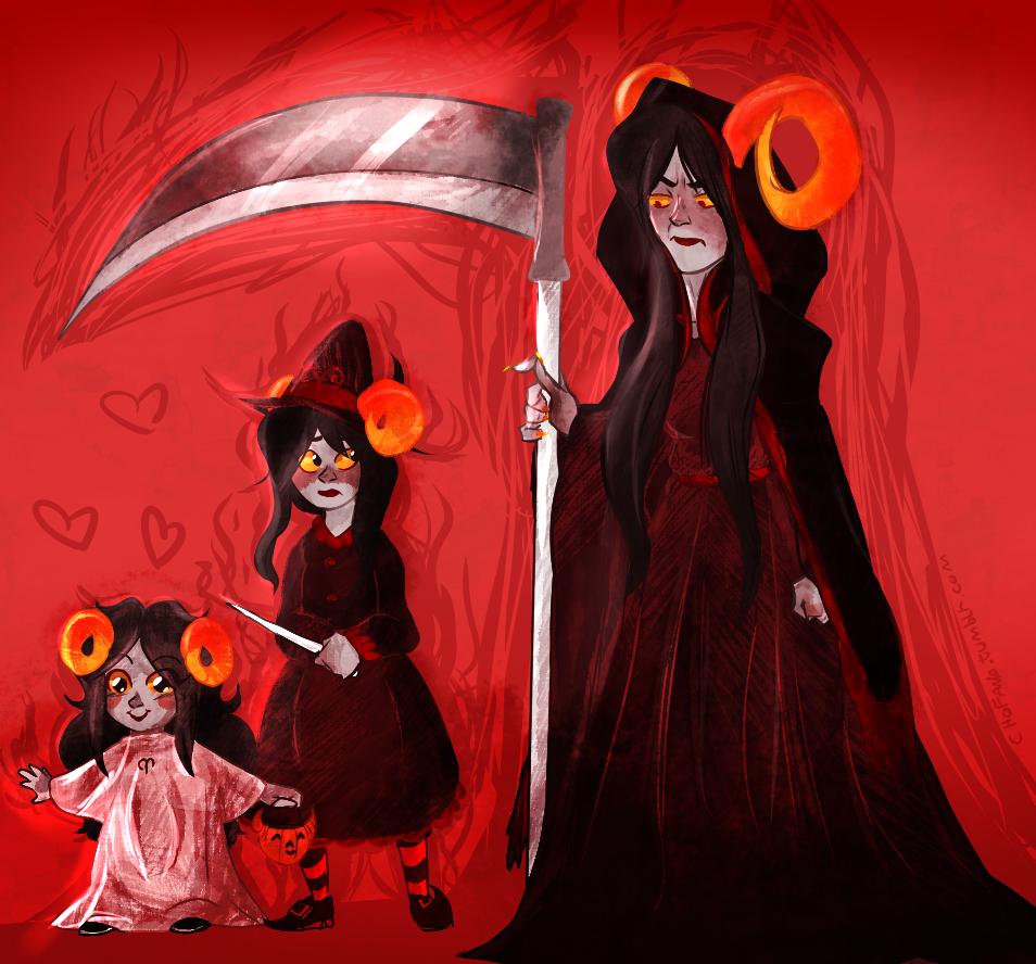 ageswap aradia_megido chofana damara_megido diabetes halloweenstuck heart megidos scythe the_handmaid weapon