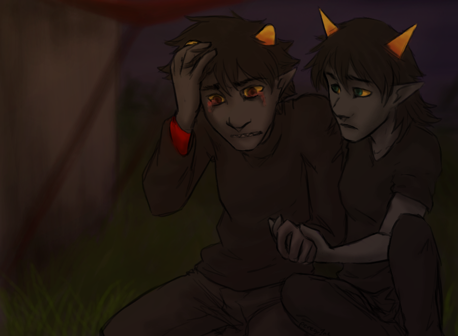 adorabloodthirsty crying holding_hands karkat_vantas night-of-void redrom seeing_terezi shipping terezi_pyrope