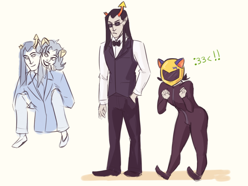 ! carrying cosplay durarara!! equius_zahhak meowrails nepeta_leijon no_glasses no_hat suit wizardbones