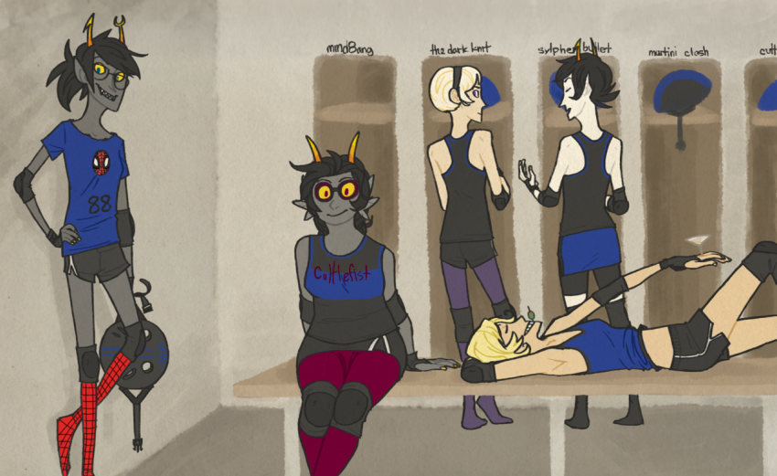 au cocktail_glass derbystuck feferi_peixes girls kanaya_maryam marvel rose_lalonde roxy_lalonde spider-man sports thestralhugs vriska_serket