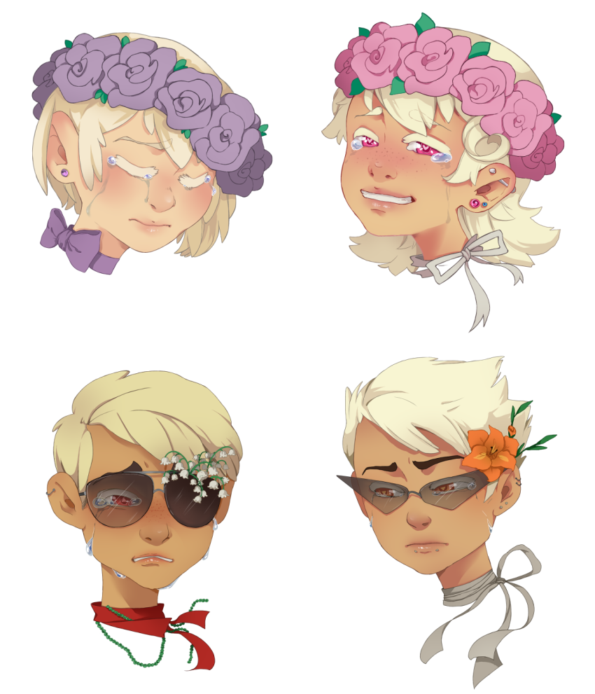 artist-in-training body_modification crying dave_strider dirk_strider flower_crown flowers headshot rose_lalonde roxy_lalonde strilondes