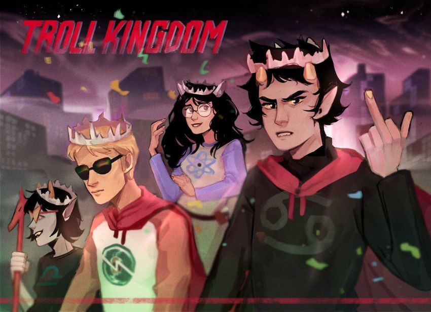 city crown dave_strider dragon_cane jade_harley karkat_vantas panel_redraw polukhinas red_baseball_tee starter_outfit terezi_pyrope text the_finger