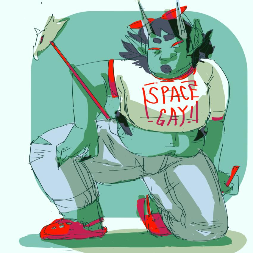 casual chubstuck dragonhead_cane fashion kneeling no_glasses solo tea-rezi terezi_pyrope