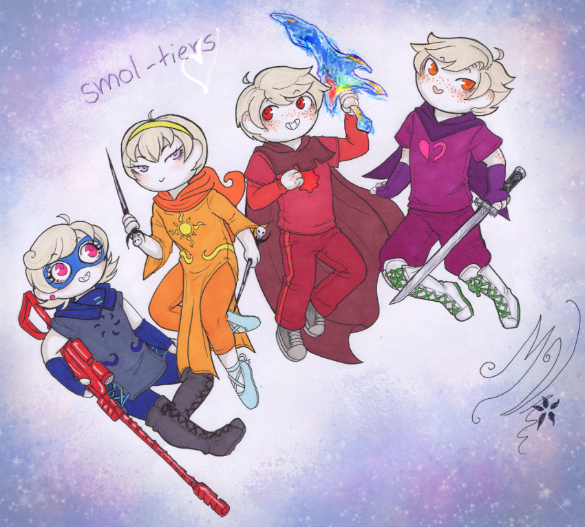 crocker_rifle dave_strider dirk_strider freckles godtier heart_aspect knight light_aspect melanievimpula prince rogue rose_lalonde roxy_lalonde seer sord thorns_of_oglogoth time_aspect unbreakable_katana void_aspect