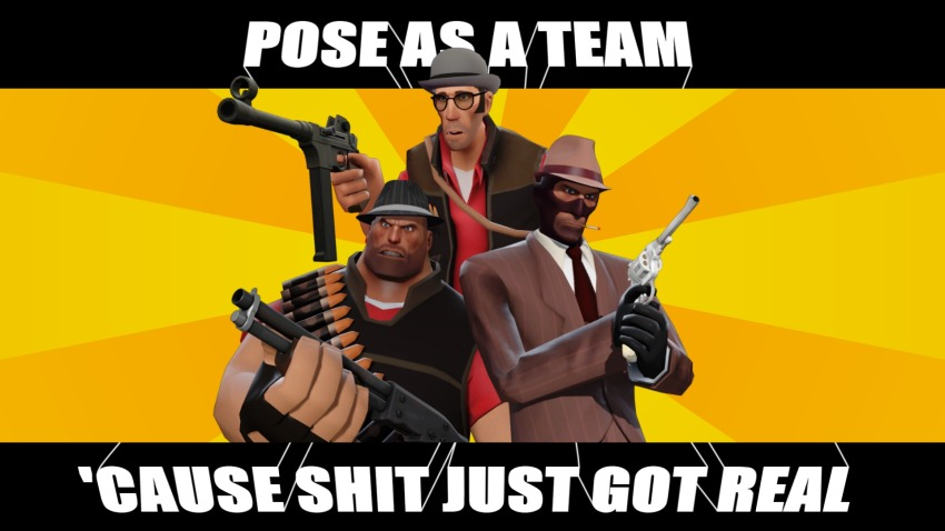 crossover fedora handgun masterlegodude meme pose_as_a_team problem_sleuth_(adventure) team_fortress_2