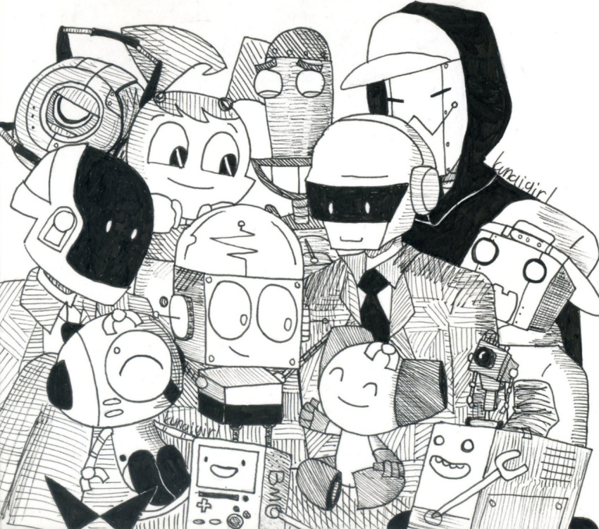 adventure_time crossover daft_punk kunaigirl lil_hal my_life_as_a_teenage_robot portal rick_and_morty robot robotboy sawtooth sketch squarewave the_amazing_world_of_gumball time_squad whatever_happened_to_robot_jones?