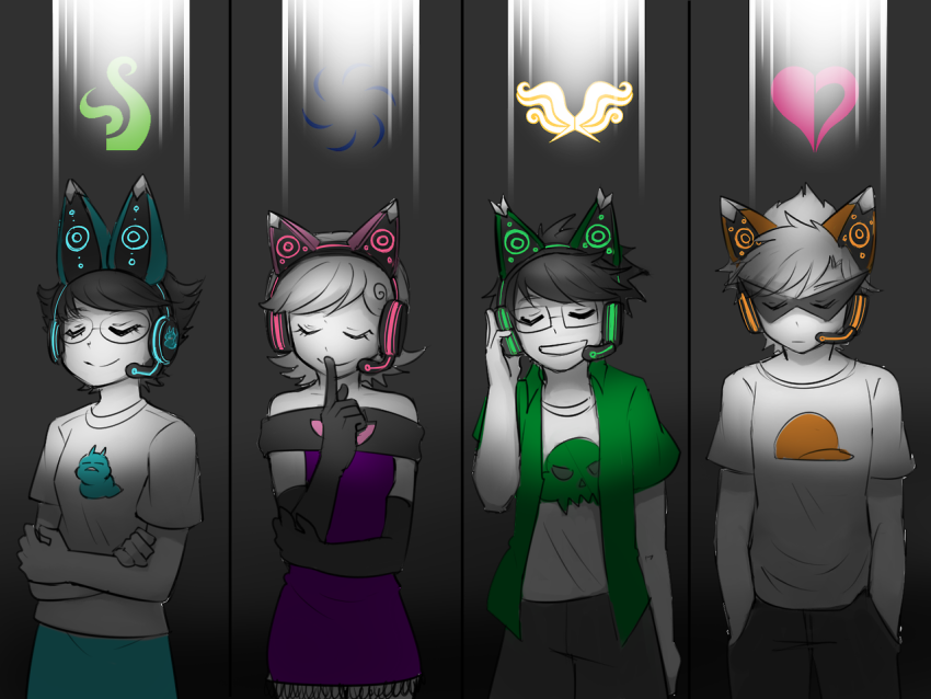 alpha_kids animal_ears aspect_symbol dirk_strider jake_english jane_crocker kiwiuccu roxy_lalonde