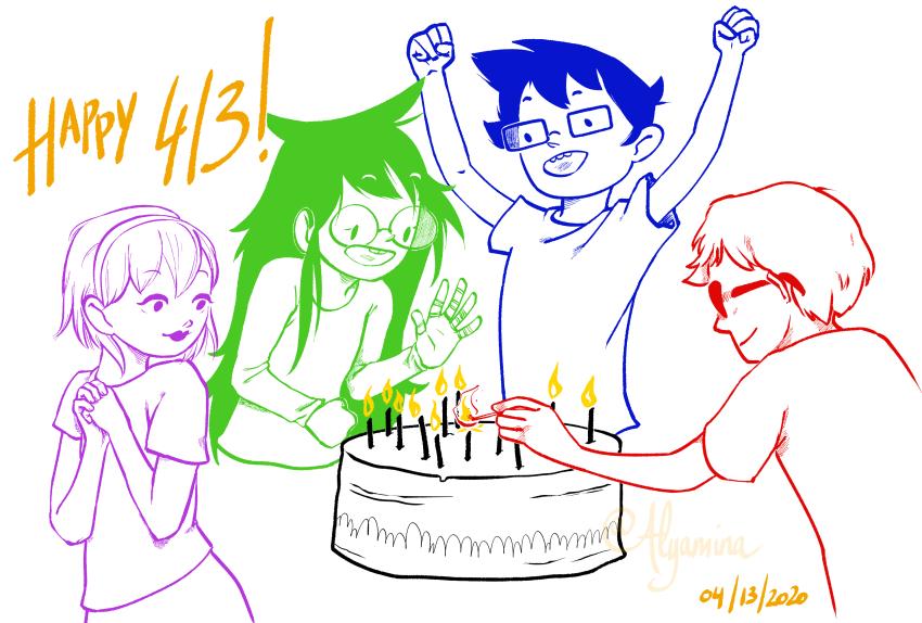 413 alyamina_ beta_kids birthday cake dave_strider jade_harley john_egbert rose_lalonde starter_outfit twitter