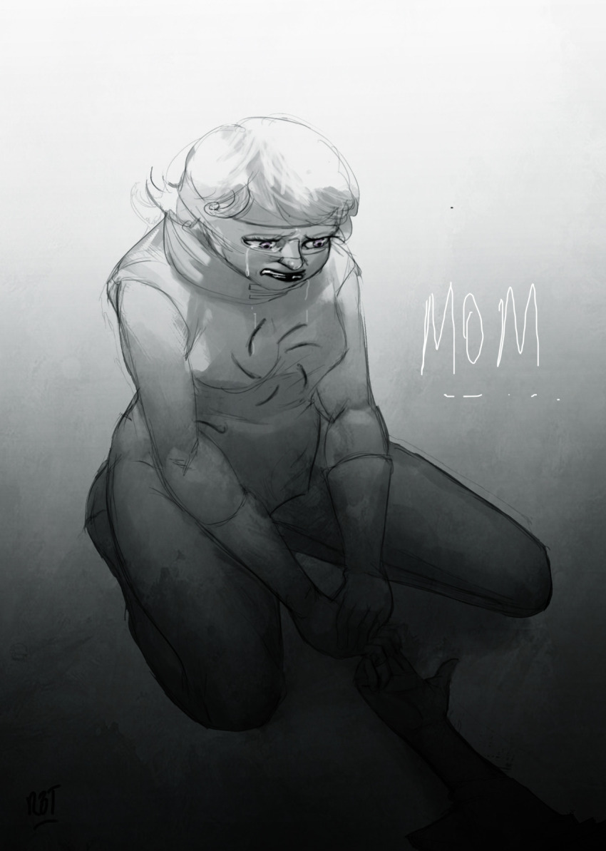crying dead godtier grayscale head_out_of_frame kneeling light_aspect redandblacktac rogue rose_lalonde roxy_lalonde sadstuck seer text void_aspect