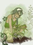 alternate_hair dogtier flowers jade_harley kneeling mulattafury solo rating:Safe score:7 user:sync