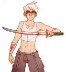 blood dave_strider eli katana no_shirt solo rating:Questionable score:8 user:saigner
