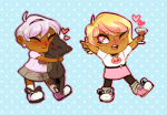 alcohol chibi cocktail_glass gaulllimaufry heart hug jaspers rose_lalonde roxy_lalonde starter_outfit rating:Safe score:8 user:Pie