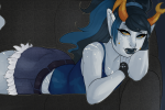ageswap alternate_hair body_modification casual couch fashion himekind no_glasses on_stomach solo vriska_serket rating:Safe score:4 user:saigner