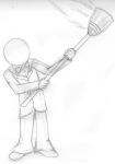 broom doc_scratch grayscale pencil sketch solo veryredgir