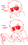 broken_source comic dave_strider food monochrome punstuck solo starter_outfit this_is_stupid