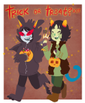 blush bromance cosplay crossover halloweenstuck high_five how_to_train_your_dragon mimi nepeta_leijon no_hat pumpkin scratch_and_sniff terezi_pyrope