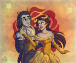 aradia_megido beauty_and_the_beast crossover disney equius_zahhak flowers holding_hands iron_maiden no_glasses redrom shipping torritron