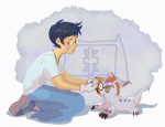 beagle_puss crossover deleted_source digimon jane_crocker kneeling my-friend-the-frog starter_outfit