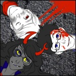 asherdashery blood crossover dave_strider headshot high_angle john_egbert no_glasses the_hunger_games vriska_serket