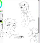 art_dump deleted_source food loki monochrome nepeta_leijon no_hat school_uniform sketch solo
