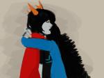dragon_cape hug no_glasses pir8_coat prablata scourge_sisters seeing_terezi terezi_pyrope vriska_serket