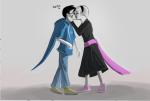 black_squiddle_dress breath_aspect godtier grimdorks heir jamesab john_egbert kiss redrom rose_lalonde shipping
