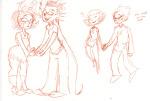 aranea_serket dancestors dirk_strider dreamself gillfronds heart holding_hands meenah_peixes neorails redrom roxy_lalonde shipping sketch sleeping specialsari
