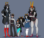 ancestors aranea_serket arms_crossed artificial_limb book dancestors feferi_peixes her_imperious_condescension holding_hands marquise_spinneret_mindfang meenah_peixes peixeses serkets size_difference surnmfang vriska_serket
