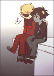 arm_around_shoulder blimpgato dave_strider godtier karkat_vantas knight music_note red_knight_district redrom shipping sitting smiling_karkat word_balloon