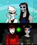 dave_strider dirk_strider equius_zahhak godtier green_sun heart knight no_glasses pony_pals pshikel redrom seagulls shipping sollux_captor strong_tanktop sweat time_aspect wonk