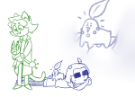crossover equius_zahhak meowrails nepeta_leijon nintendo on_stomach pokémon v23